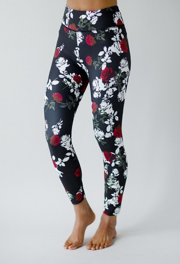 Grace Ultra High Waist 7/8 Yoga Legging (Black Beauty Rose)