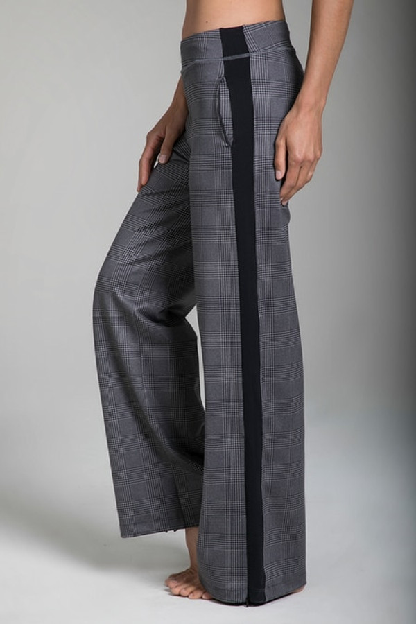 Side view of the KiraGrace Seva Track Pant in Glen Plaid print