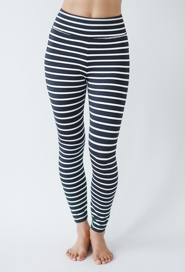 Ultra High Waist Black and White Print Leggings front view
