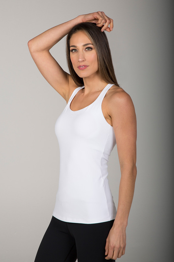 Supportive White Tank Top with Built-In Bra