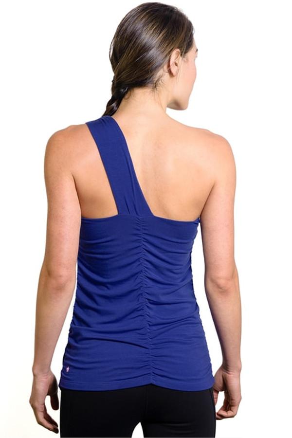Goddess Luxe One Shoulder Yoga Top in Mazarine