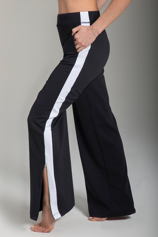 Zipper detail of the KiraGrace Seva Track Pant in Black & White