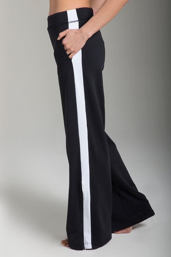 Pocket detail of the KiraGrace Seva Track Pant in Black & White