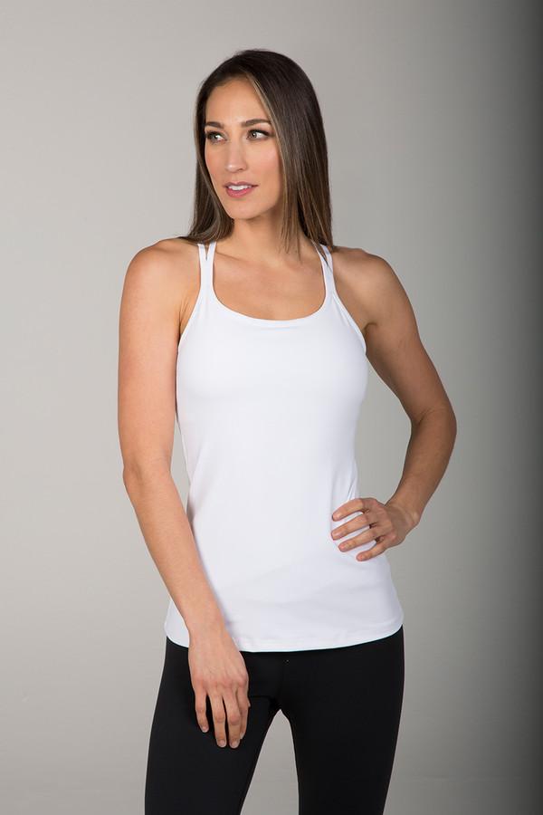 White Double Strap Yoga Cami front view
