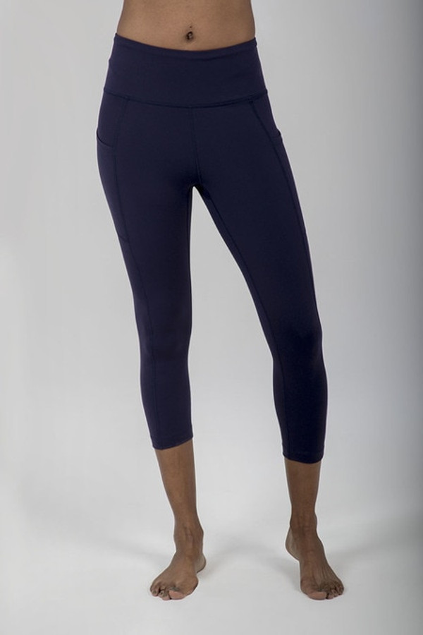 Ultra High Waist Pocket Yoga Capri (Navy)