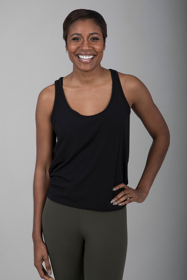 Black Scoop Neck Yoga Tank with Tie Back front view