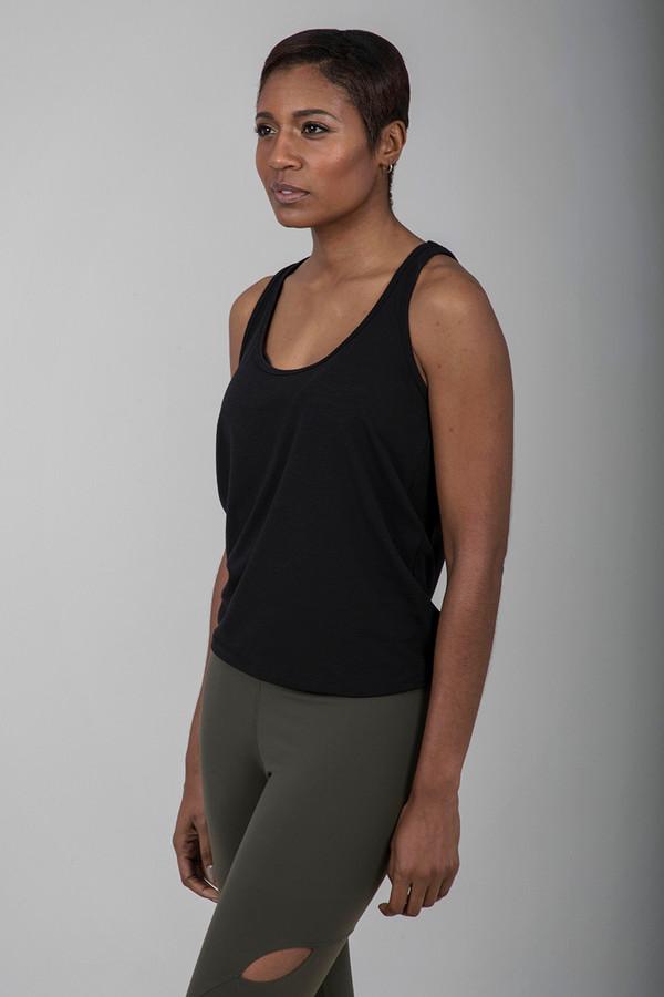 Seva Foundation Loose Fitting Tie Back Tank Top in Black