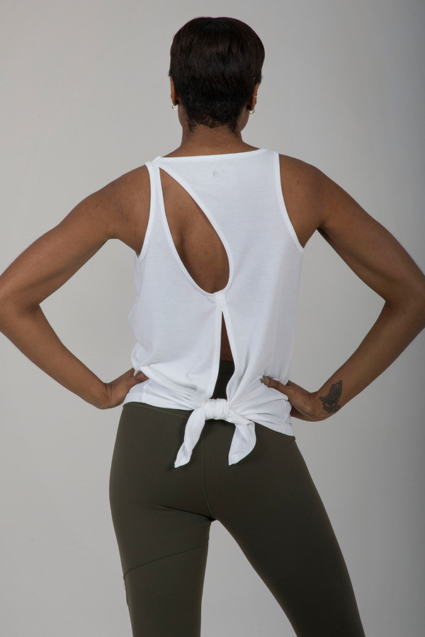 Seva Tie Back Yoga Tank (White)