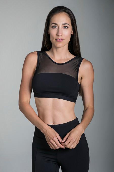 KiraGrace Crescent Mesh Yoga Bra (Black)