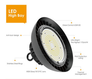 150W Samsung LED UFO High Bay Light Black Hook Mount - 19500 Lumens - 5 years Warranty - 5700K - ETL - 400W Equivalent