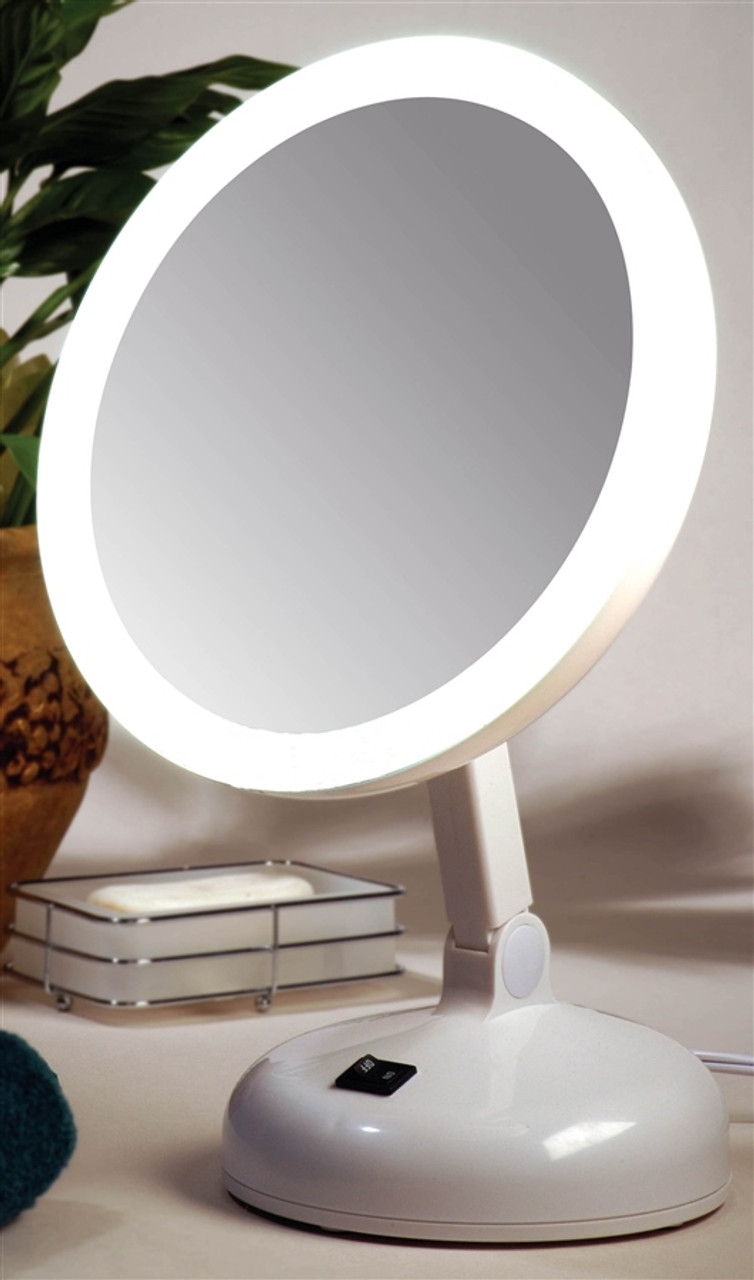 FL-10DS-2 Floxite 10X Magnifying LED Lighted Vanity Mirror w// 2 Light Settings