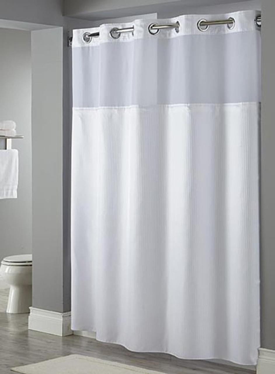 Wallmountdryer Com Hookless Fabric Shower Curtain Dobby Stripe