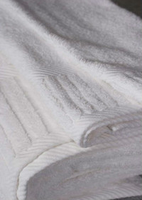 Oxford Magic Spa Washcloth 15x15, 2.0 lb. 100% Cotton, Piano Design, Dobby Borders White, 1 dozen