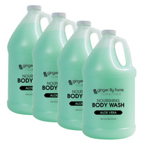 Ginger Lily Farms Club and Fitness Formula Aloe Vera Body Wash Gallon - Case of 4