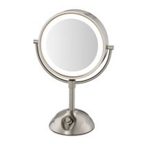 "Conair BE103WH 8.5"" Lighted LED Vanity Mirror 1X-5X Magnification Satin Nickel"