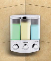 Better Living 76334-1 Euro TRIO Dispenser, Translucent Container, Satin Silver, OPEN BOX