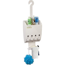 Better Living 75453 Ulti-Mate 4 Chamber Dispenser Shower Caddy with Shelf, OPEN BOX