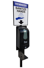 Hand Sanitizer Stand with Dispenser, Sign Holder and Sign, Black, Kit