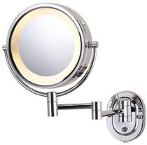 "Jerdon HL65C 8"" 5X Lighted Wall Mount Mirror, Chrome Finish - Plug In"