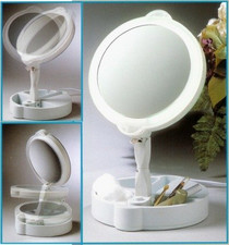 Floxite 9x/1x Home & Travel Mate Lighted Mirror