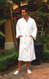 Waffle Weave Cotton/Poly Bathrobe, White Kimono, 12 Per Case, Price Per Each