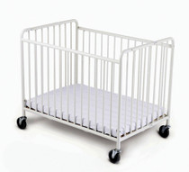 """StowAway™ Compact Steel Folding Crib with 4"""" Casters and 2"""" Foam Mattress, White"""