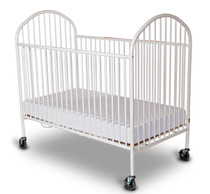 """Pinnacle™ Full Size Steel Folding Crib with 4"""" Casters, Mattress Not Included, White"""