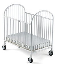 """Pinnacle™ Compact Steel Folding Crib with 4"""" Casters and 4"""" Innerspring Mattress, White"""