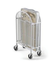 "Pinnacle™ Compact Steel Folding Crib with 4"" Casters and 4"" Innerspring Mattress, White"