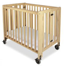 "Hideaway™ Compact Solid Wood Folding Fixed Side Crib with 4"" Casters & 2"" Foam Mattress, Natural"