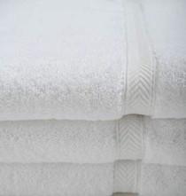 Oxford Gold Dobby Bath Towel 27x50, 14 lb. 86% Cotton 14% Polyester, Dobby Border, White, 1 dozen