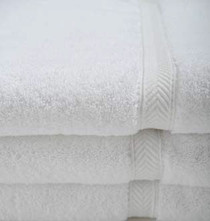 Oxford Gold Dobby Bath Towel 27x54, 17 lb. 86% Cotton 14% Polyester, Dobby Border, White, 1 dozen