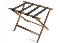 Economy Series Wood Luggage Rack, Walnut, Brown Straps, Price Per Each, 6 Per Case