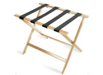 Economy Series Wood Luggage Rack, Light Wood, Brown Straps