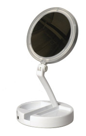 Floxite 7504-12L 12x/1x Lighted Folding Vanity and Travel Mirror