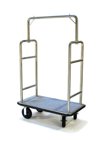 """Deluxe Bellman Cart 1-1/2"""" Tube, Stainless Steel, Squared Top"""