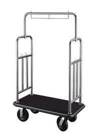 """Deluxe Bellman Cart 1-1/2"""" Tube, Stainless Steel, Squared Top, Side Bars"""