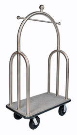 """Deluxe Heavy Duty Bellman Cart 2"""" Tube, Trident Style, Stainless Steel"""
