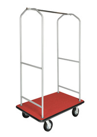 Economy Bellman Cart, Powder Coated Silver, Red Carpet