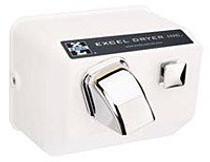 Excel Dryer 76-W Push Button Hand Dryer, White, Traditional Cast Cover Series