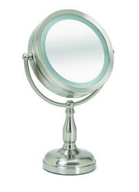 Sunbeam MR3705-060 Lighted LED 1X/3X 7.5 Inch Tabletop Mirror, Brushed Nickel