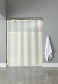 Hooked Poly Premium Fabric Shower Curtain with Window and Liner, 71x72, 12 Per Case, Price Per Each