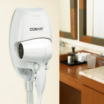 Conair 134W 1600 Watt Wall Mount Hair Dryer with Night Light, White