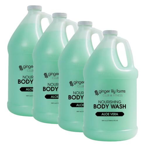 Ginger Lily Farms Club and Fitness Formula Aloe Vera Body Wash Gallon - Case of 4