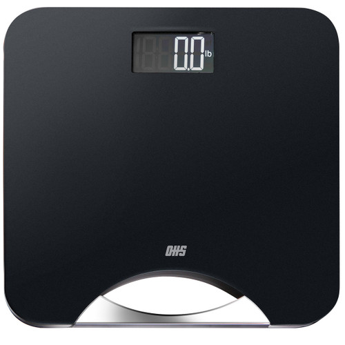 Optima Silhouette SI-400 Bathroom Scale, 400 lb Capacity, Matte Finish with Stainless Steel Handle, Auto On/Off