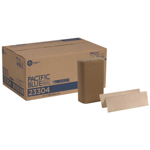 Pacific Blue Basic M-Fold Paper Towels, 9.2 x 9.4, Brown, 250/Pack, 16 Packs/Carton