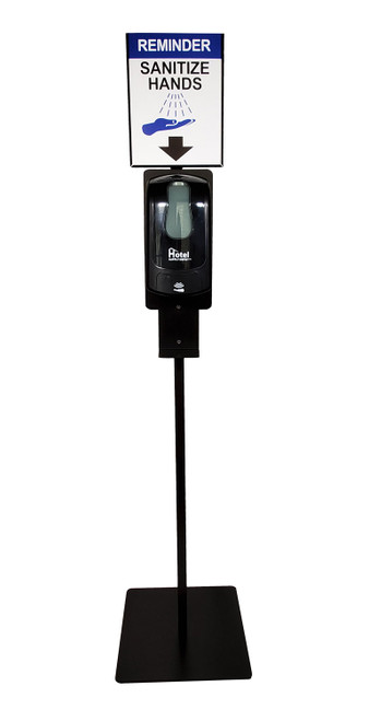 Hand Sanitizer Stand with Dispenser, Sign Holder and Sign, Black, Kit
