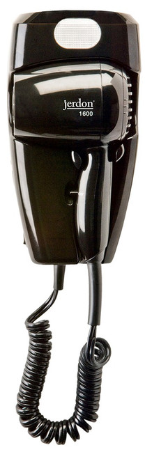 Jerdon JWM8CBD 1600W Wall Mount Hair Dryer with LED Night Light Black - Direct Wire