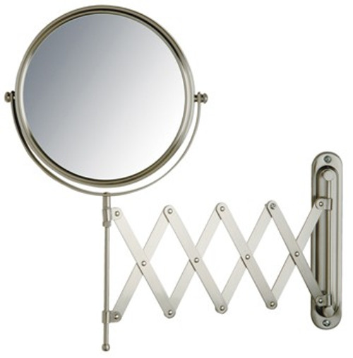 "Jerdon JP2027N 8"" Wall Mount Mirror, Scissor Bracket, Nickel Finish"