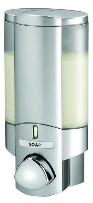 Better Living 76130 AVIVA I Shower Soap Dispenser, Translucent Bottle, Satin Silver